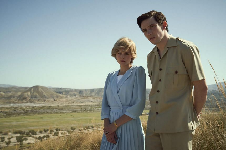 Emma Corrin and Josh O'Connor play Princess Diana and Prince Charles in The Crown.