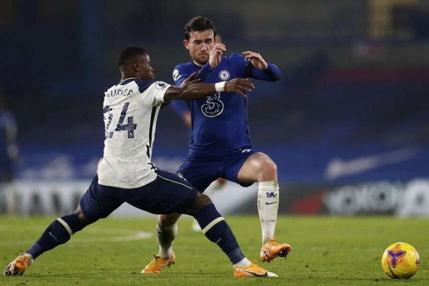 Chelsea's Ben Chilwell (right) in action against Tottenham's Serge Aurier in London, on Nov 29, 2020.