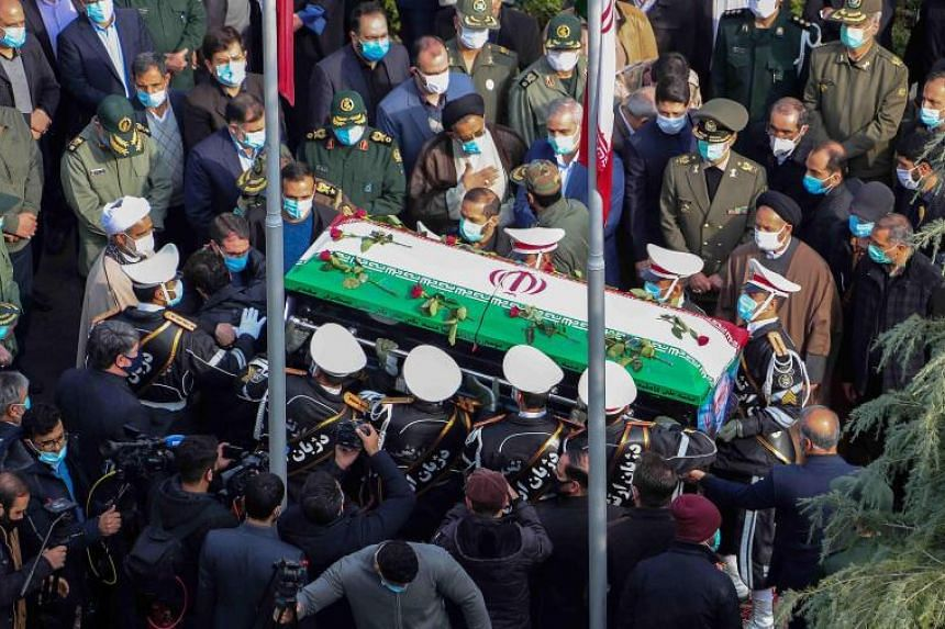 Members of the Iranian armed forces carrying the coffin of slain nuclear scientist Mohsen Fakhrizadeh in Teheran on Nov 30, 2020.