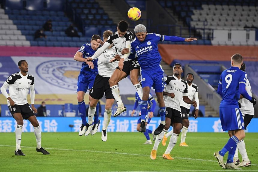 Leicester's Wesley Fofana (centre, right) in action against Fulham's Antonee Robinson (centre, left) on Nov 30, 2020.