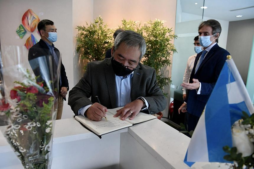 The Argentine Embassy opened two condolence books for people in Singapore to pay tribute to Maradona at its office in Suntec Tower One.