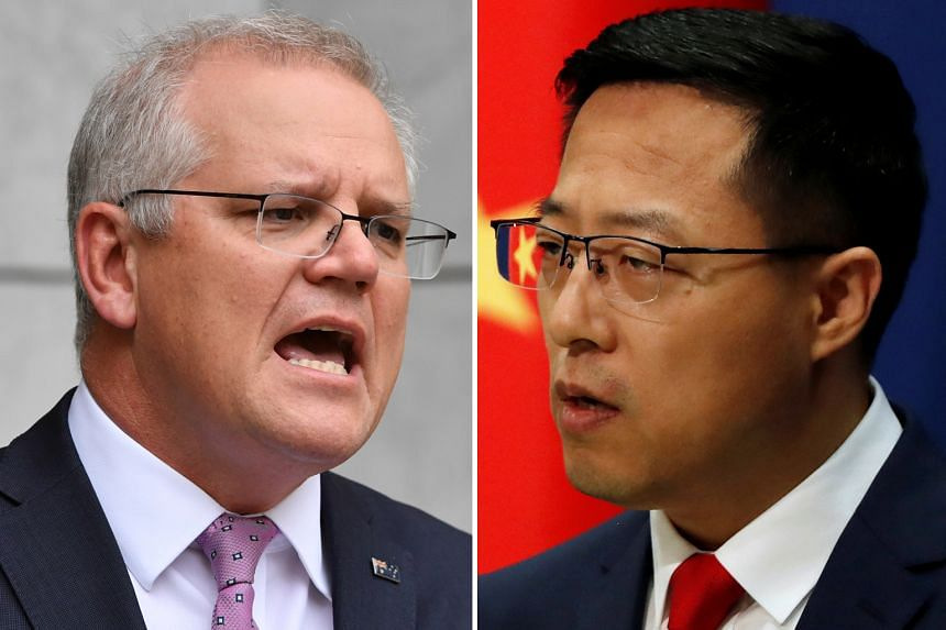 Australian Prime Minister Scott Morrison (left) condemned the posting of a fake image - of an Aussie soldier holding a knife to the throat of an Afghan child - by China's Foreign Ministry spokesman Zhao Lijian (right).