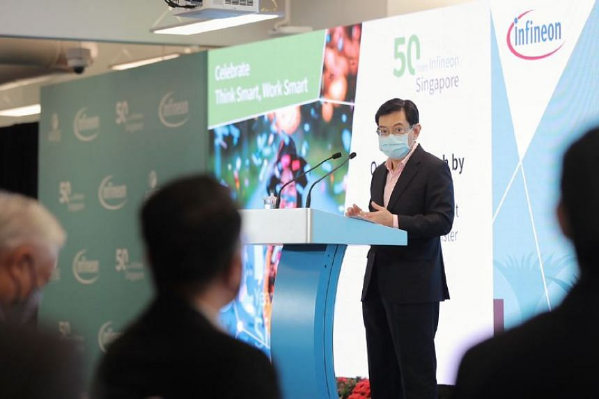 DPM Heng Swee Keat said Infineon is a role model in Singapore's semiconductor industry that has created many good jobs for locals across many different roles.