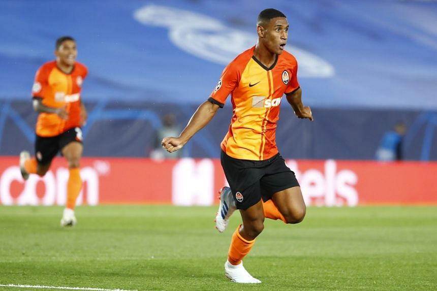 Shakhtar Donetsk's Tete celebrates scoring their first goal against Real Madrid on Oct 21, 2020.