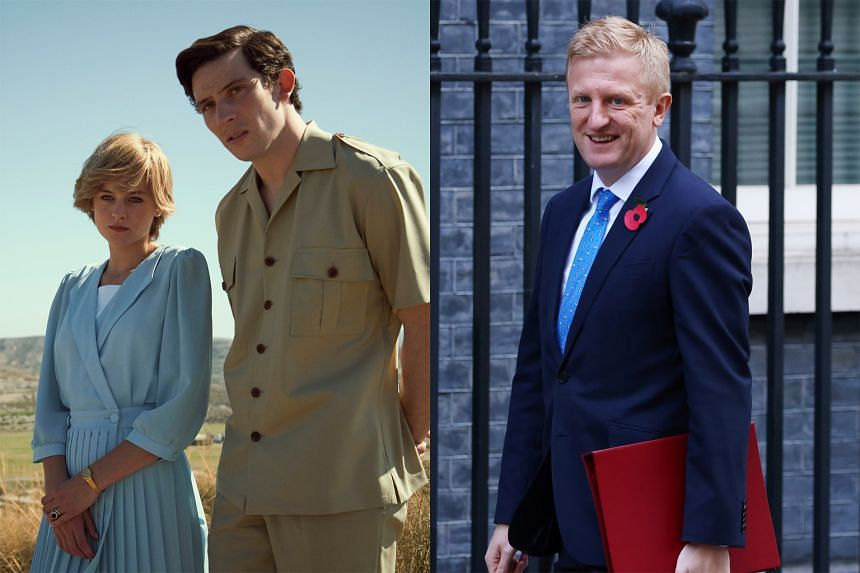 Culture Minister Oliver Dowden (right) is expected to write to Netflix to ask for a warning to be added before each episode of The Crown. The latest season of the series stars Emma Corrin as Princess Diana and  Josh O'Connor (both left) as Prince C