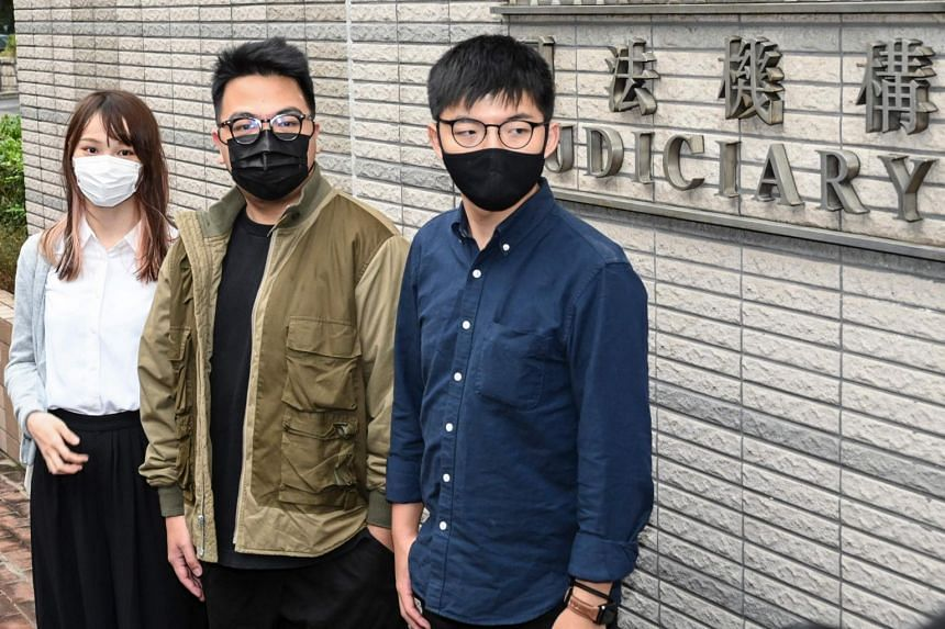 (From left) Pro-democracy activists Agnes Chow, Ivan Lam and Joshua Wong pleaded guilty to various charges including inciting an unlawful assembly.