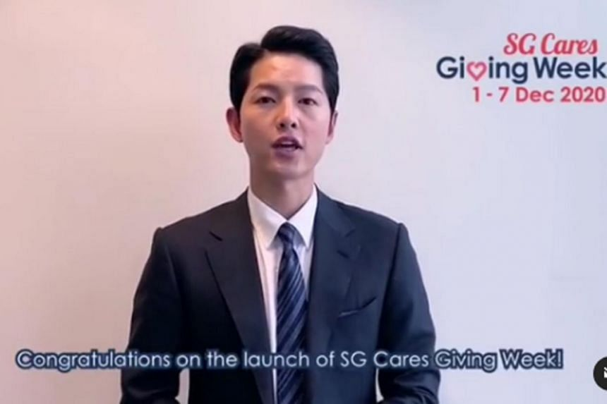Song Joong-ki congratulated organisers for the launch of SG Cares Giving Week.
