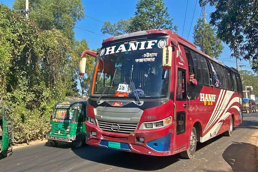 Buses carrying Rohingya refugees heading towards Chittagong, where the refugees will be relocated to an island, on Dec 3, 2020.