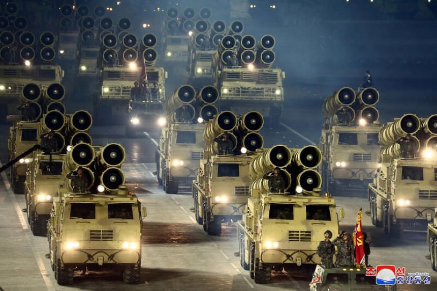 Military vehicles are seen during a parade to mark the 75th anniversary of the founding of the ruling Workers' Party of Korea, in North Korea on Oct 10, 2020.