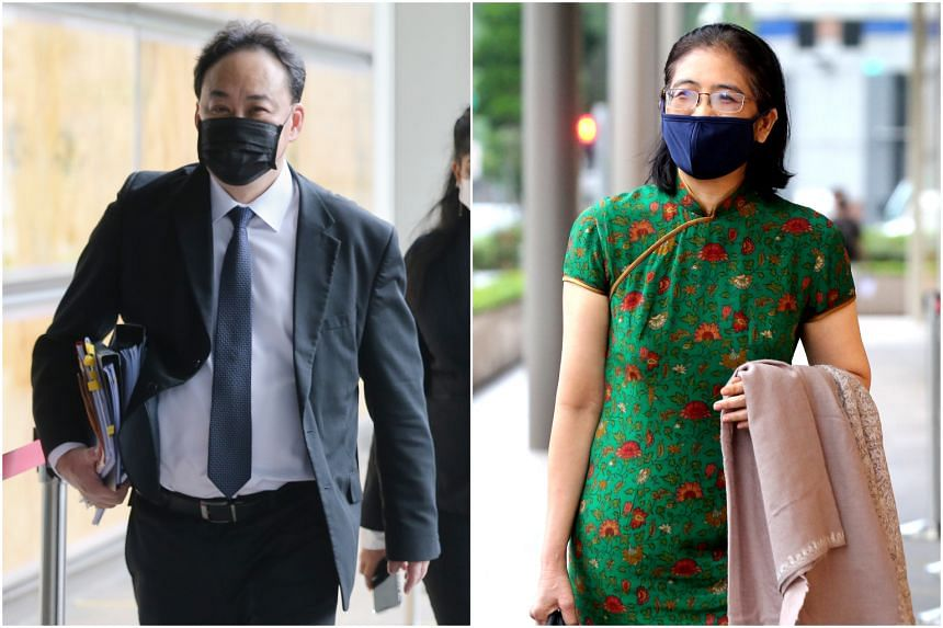 Lawyer Lim Tean (left), who is representing TOC editor Terry Xu, briefly questioned Ms Kwa Kim Li.