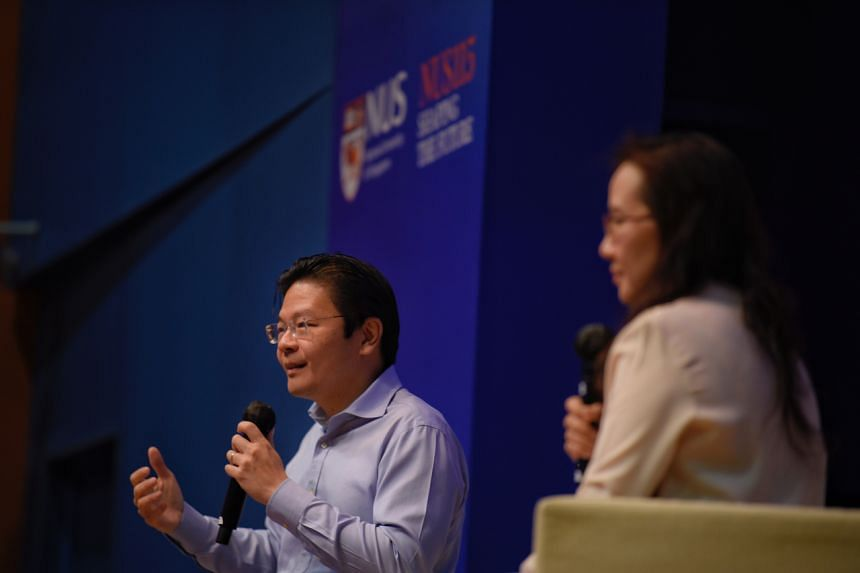 Education Minister Lawrence Wong speaking at the National University of Singapore on Dec 3, 2020.