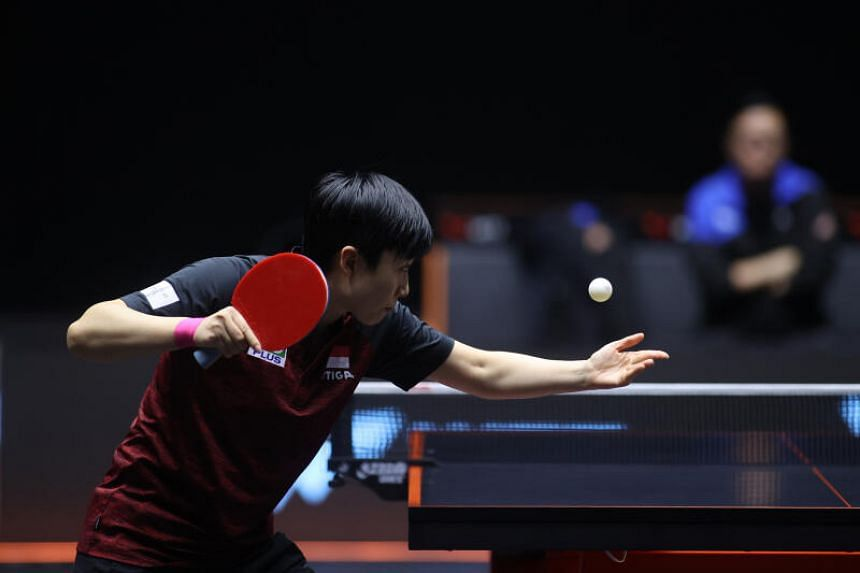 Singapore's Feng Tianwei in action at the promotional WTT Macau showcase against American Lily Zhang on Nov 26, 2020.
