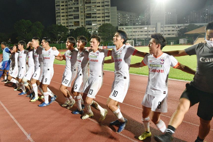 Albirex Niigata celebrating after they beat Hougang 1-0 away to become the SPL 2020 champions.