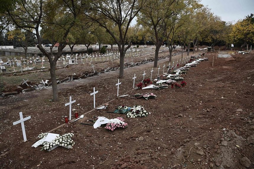 New graves of Covid-19 victims at a cemetery in the Greek city of Thessaloniki this week. The disease caused nearly four times the number of deaths due to malaria, according to the World Health Organisation.