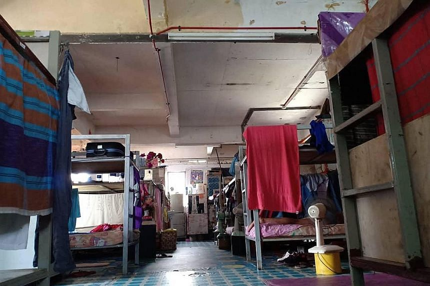 A foreign workers' dorm in Selangor last month. Congested dorms are breeding grounds for the virus, say health experts.
