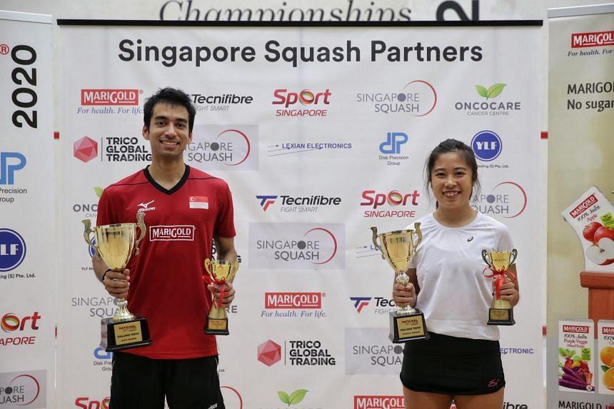 Samuel Kang and women's final winner Au Yeong Wai Yhann at Kallang Squash Centre on Dec 5, 2020.