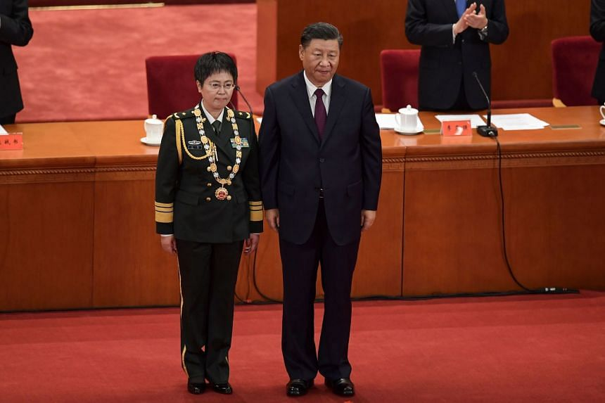 Major-General Chen Wei (left) with Chinese President Xi Jinping at a ceremony in Beijing in September to laud those who had contributed to China's fight against the Covid-19 pandemic.
