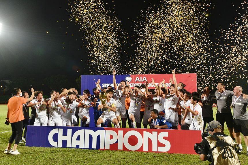 Albirex Niigata celebrate after winning the Singapore Premier League, at Hougang Stadium on Dec 5, 2020.