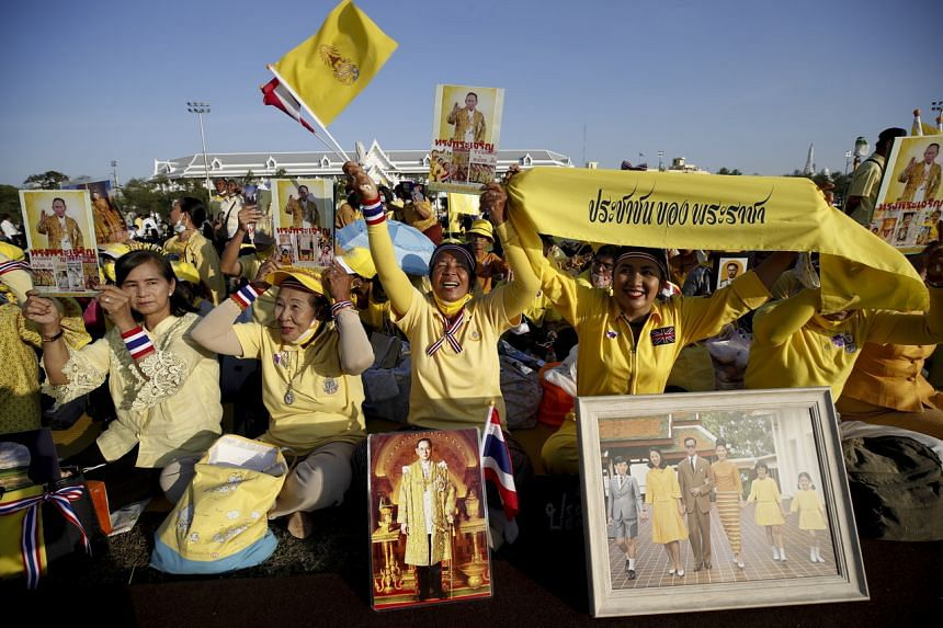 Royalists gathered in Bangkok to show their devotion to the Thai monarchy on the birthday of the late King Bhumibol Adulyadej.