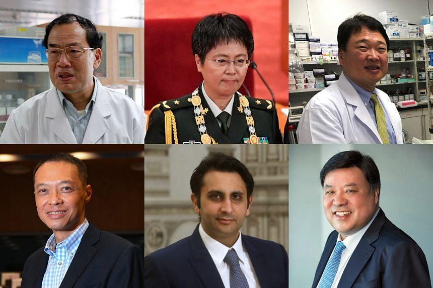 (Clockwise from left) Prof Zhang Yongzhen, Major-General Chen Wei, Dr Ryuichi Morishita, Celltrion chairman Seo Jung-jin, Serum Institute of India CEO Adar Poonawalla and Prof Ooi Eng Eong.