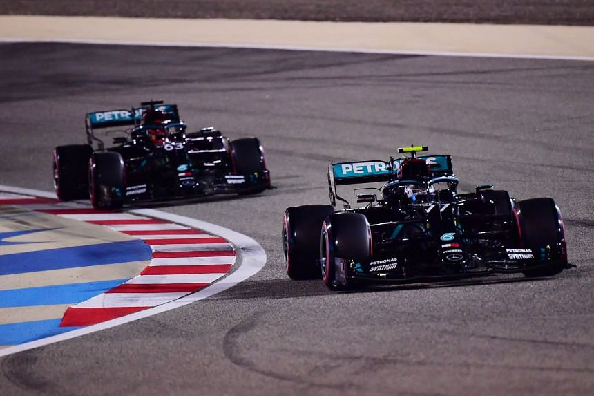 Mercedes' Valtteri Bottas and George Russell in action during qualifying session.