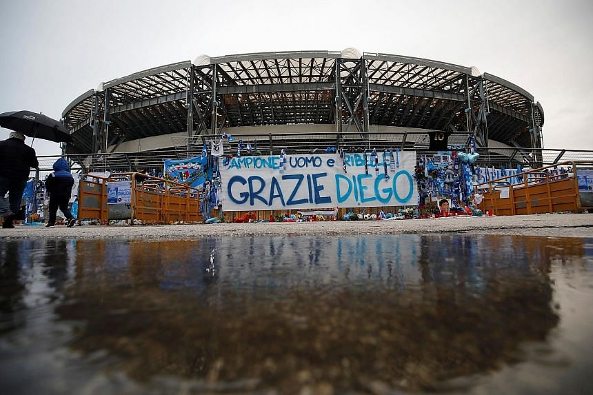 The San Paolo Stadium was officially renamed the Diego Armando Maradona Stadium on Friday. The Argentinian died on Nov 25. PHOTO: REUTERS