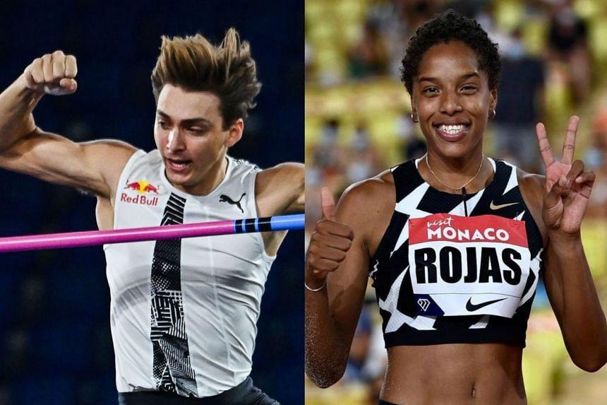 Swedish pole vaulter Duplantis (left) and Venezuelan triple jumper Rojas were named in a virtual ceremony.