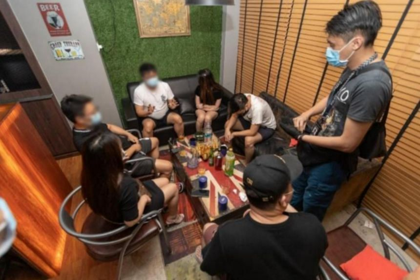 The police found public entertainment outlets that were operating illegally and rounded up 24 men and 10 women during the operation.