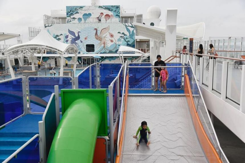 Kids having fun in a water park on Genting's World Dream on Nov 7, 2020.