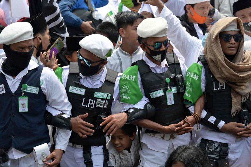 Supporters of Rizieq Shihab gather at their headquarters in Jakarta, on Nov 10, 2020.