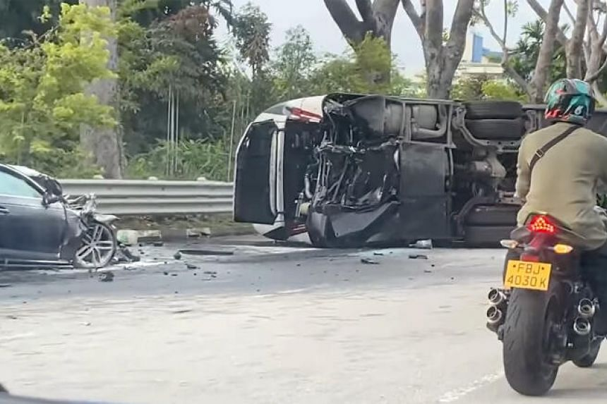 The accident happened at 7am at the end of the Jurong Island Highway.