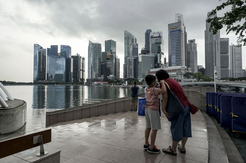 The skyline of the financial district in Singapore on Dec 8, 2020.
