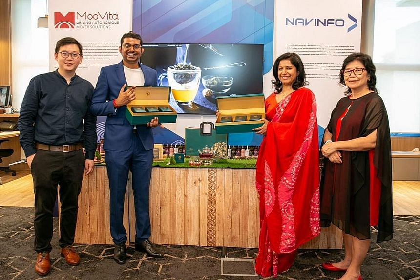 (From left) Co-founders of local food science and tech start-up Asmara, Mr Tho Pin Da and Mr Ramesh Krish Kumar, Sri Lankan High Commissioner to Singapore Sashikala Premawardhane and Ms Sally Chew, steward of GB Community Development, at the event la