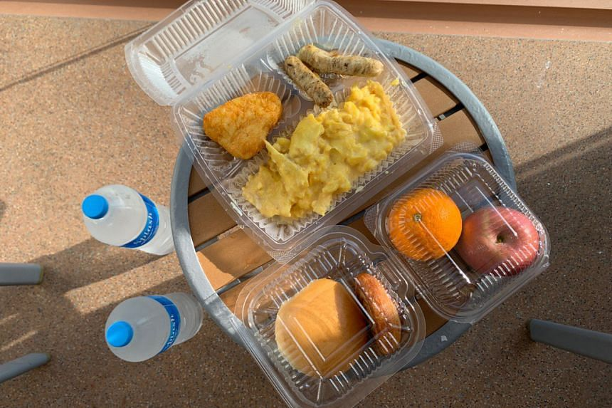 Breakfast and 2 bottles of mineral water was delivered while cruise passengers remain in their room after returned to Singapore mid-sail, on Dec 9, 2020.