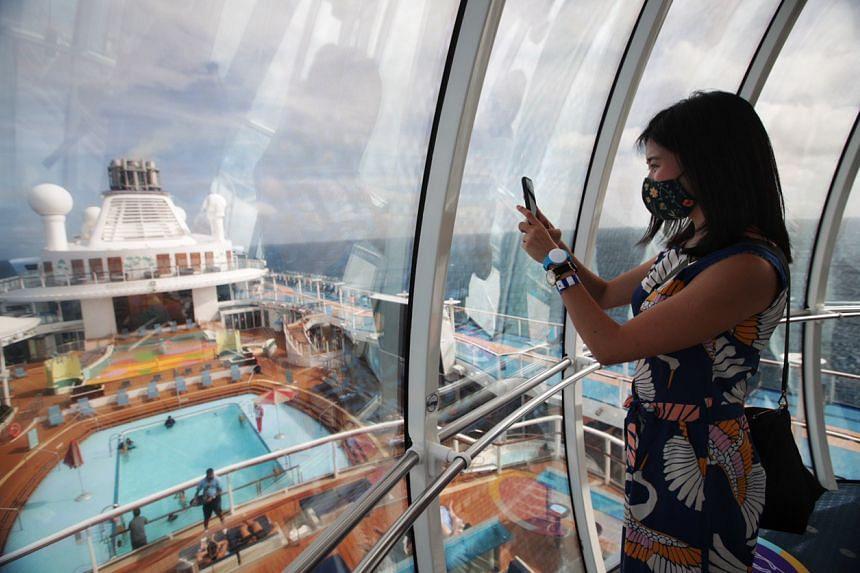 Journalist Clara Lock on Royal Caribbean cruise ship Quantum of the Seas on Dec 9, 2020.
