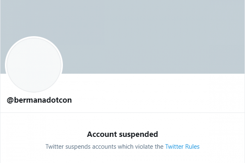 The spoof Twitter account with the handle @Bermanadotcon has been suspended.