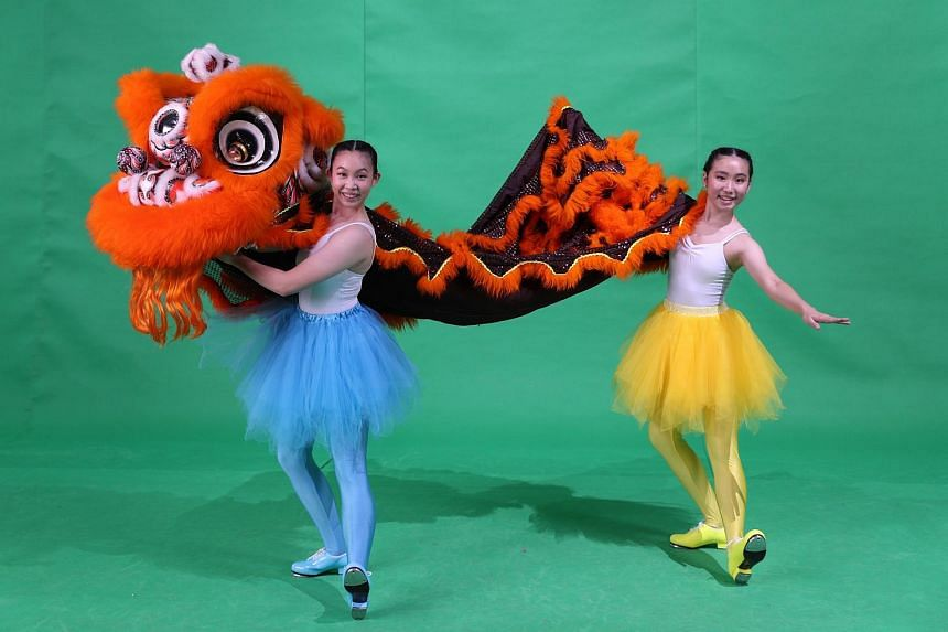 Tap dancers Isabel Judith Koh Wee Yi (left) and Ignez Lee Song En will be performing a lion dance during next year's Chingay parade.