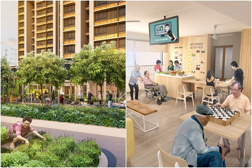 The new flat typology comes with a mandatory service package to support seniors to age in place.