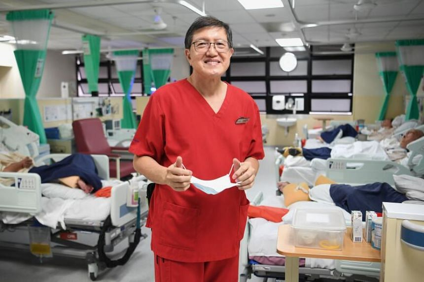Former engineer Clement Ng Cheng Chuan decided to make a career switch at 60, and now works as a staff nurse at St Luke's Hospital.