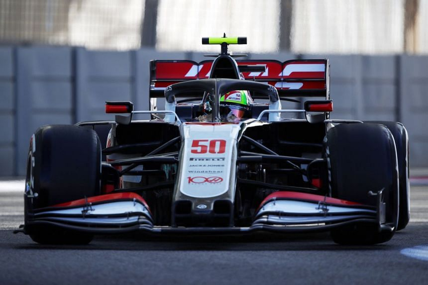New Haas' driver Mick Schumacher tests the car during practice.