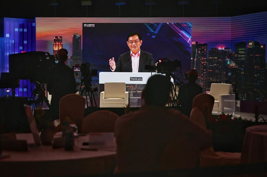 Deputy Prime Minister Heng Swee Keat speaking in a pre-recorded speech at the Singapore FinTech Festival and Singapore Week of Innovation and Technology on Dec 7, 2020.