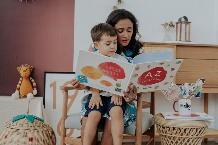 Kshama Alur, co-author of A To Z Of Singapore, with her son Neil.