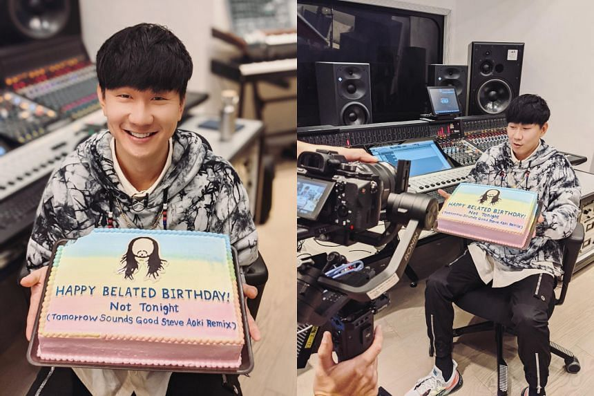 JJ Lin posted a photo of himself with a colourful cake, which had an image of Steve Aoki with his signature long hair.