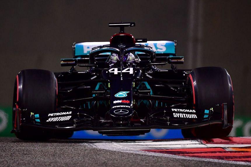 Mercedes' Lewis Hamilton during practice ahead of the Abu Dhabi grand prix.