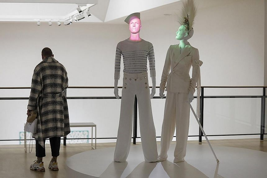 HERE COMES THE BRIDE: Bridal creations on display at French fashion designer Jean-Paul Gaultier's exhibition Love Is Love at the Museum of Contemporary Art in Belgrade, Serbia, last month. The show, which is the designer's first solo exhibition in th