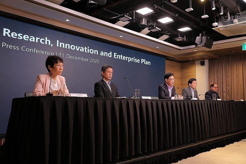 Deputy Prime Minister Heng Swee Keat (centre) with (from left) Minister for Sustainability and the Environment Grace Fu, Minister for Trade and Industry Chan Chun Sing, Minister for Education Lawrence Wong and Minister for Communications and Informat