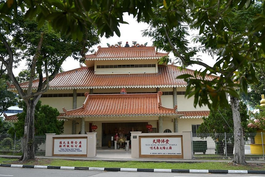 Tuan Kong Beo (Teochew) Temple and Tian Kong Buddhist Temple are both sited in a compound in Bedok North. The Teochew temple had filed a lawsuit in 2018, arguing that the Tian Kong Buddhist Temple had prevented it from holding important events at the