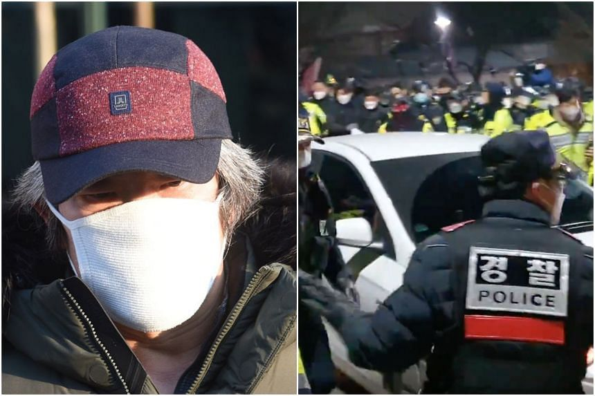 Some 150 protesters turned up when Cho Doo-soon arrived at his home.