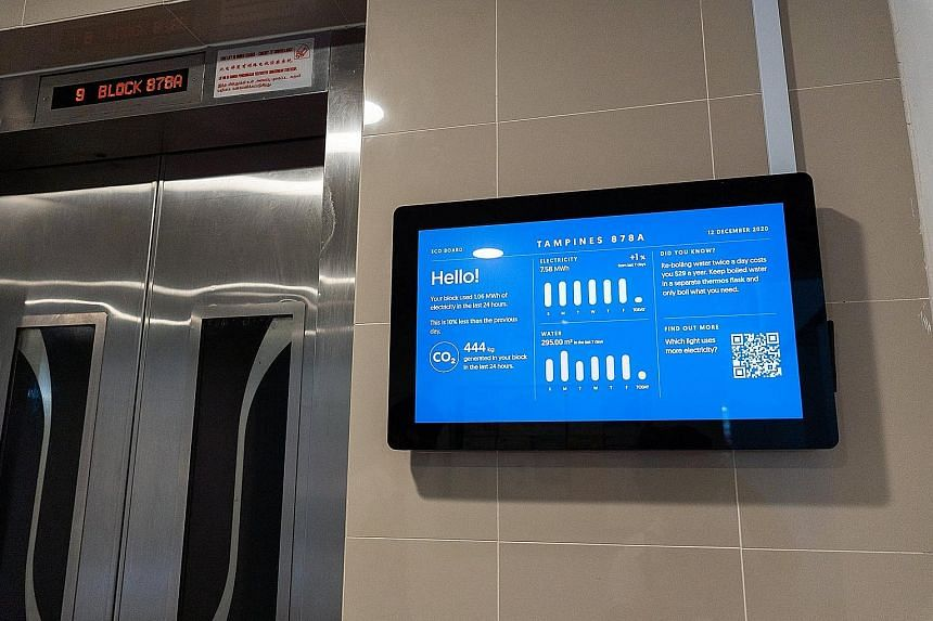 The digital board provides real-time figures of a block's aggregated water and electricity consumption and the resulting carbon emissions generated over the previous 24 hours. PHOTO: TAMPINES TOWN COUNCIL/FACEBOOK