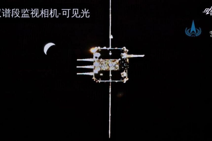 China's Chang'e-5 lunar probe approaching the ascender on Dec 6, 2020.